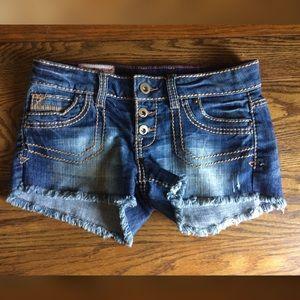 1st Kiss Premium Denim Frayed Hem Shorts